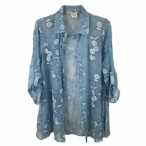 Cupio sheer flower embroidered button down blouse